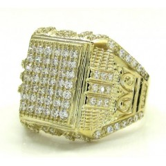 Mens 10k Yellow Gold Cz Iced Column Ring 1.10ct
