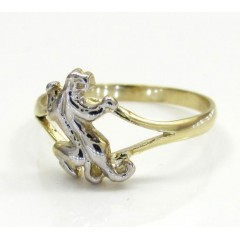 Ladies 10k Yellow Gold Two Tone Feline Jaguar Ring