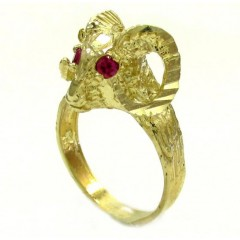Unisex 10k Yellow Gold Cz Zodiac Aries Ram Ring 0.08ct