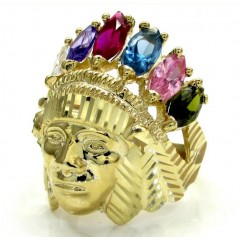 Mens 10k Yellow Gold Multi Cz Ruby Indian Chief Ring