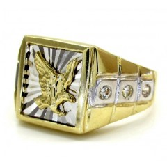 Mens 10k Yellow Gold Two Tone Cz Eagle Ring .15ct