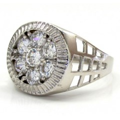 10k White Gold Cz Presidential Cluster Ring .45ct