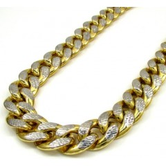 10k Yellow Gold Super Thick Reversible Two Tone Miami Chain 30 Inch 15.4mm