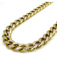 10k Yellow Gold Medium Reversible Two Tone Miami Chain 36 Inch 8mm