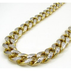 10k Yellow Gold Thick Reversible Two Tone Miami Chain 24-30 Inch 13mm