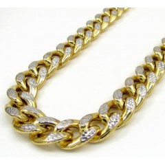 10k Yellow Gold Large Reversible Two Tone Miami Chain 28 Inch 10mm