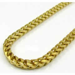 10k Solid Yellow Gold Small Tight Link Franco Chain 20-26 Inch 3mm