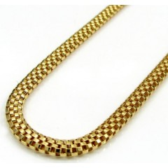 10k Yellow Gold Medium Box Mesh Chain 22-24 Inch 3.2mm