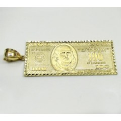 10k Yellow Gold Large Hundred Dollar Bill Plate Large Pendant