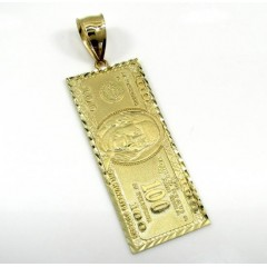 10k Yellow Gold Medium Hundred Dollar Bill Plate
