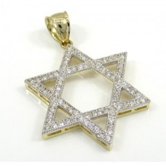 10k Yellow Gold Large Iced Out Cz Star Of David Pendant 0.75ct