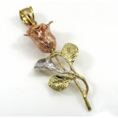 14k Yellow Gold Three Tone Rose Flower Pendant