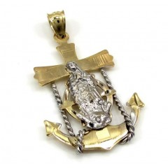 10k Yellow Gold Two Tone Virgin Mary Anchor Pendant