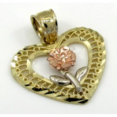 10k Yellow Gold Three Tone Fancy Flower Heart Pendant