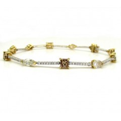 18k White And Yellow Gold Ladies Multi Diamond Tennis Bracelet 7.50 Inch 5.68ct