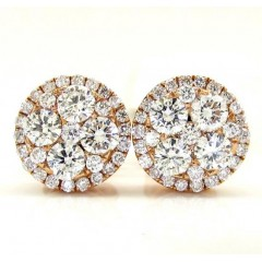 18k Rose Gold Fancy Diamond Cluster Earrings 0.95ct