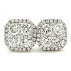 18k White Gold Fancy Diamond Cluster Earrings 1.21ct