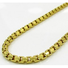 10k Yellow Gold Diamond Cut Hexagon Box Chain 20-24 Inch 2.3mm