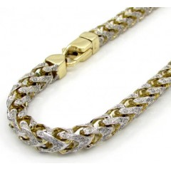 10k Yellow Gold Two Tone Fully Iced Diamond Franco Bracelet 9 Inch 5.2mm