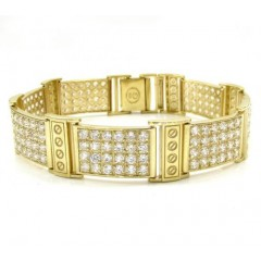 10k Yellow Gold Medium 4x6 Iced Out Cz Screw Bracelet 6.00ct