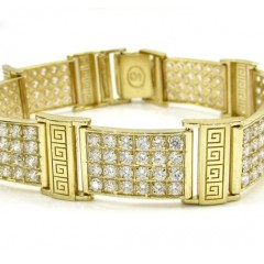 10k Yellow Gold Medium 4x6 Iced Out Cz Fancy Maze Bracelet 6.00ct