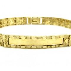 10k Yellow Gold Medium Engrave-able Id Nugget Bracelet