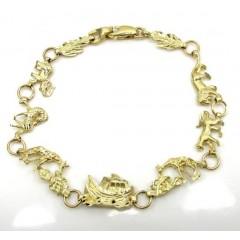 10k Yellow Gold Noah's Ark Skinny Bracelet