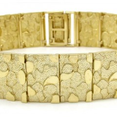 10k Yellow Gold Large Nugget Bracelet