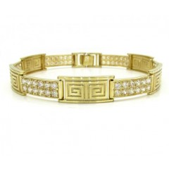 10k Yellow Gold 2x6 Iced Out Cz Fancy Maze Bracelet 4.00ct