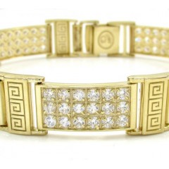 10k Yellow Gold Medium 3x6 Iced Out Cz Fancy Maze Bracelet 4.50ct