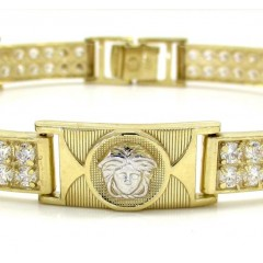 10k Yellow Gold 2x6 Two Tone Cz Fancy Medusa Bracelet 3.00ct