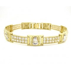 10k Yellow Gold 2x6 Two Tone Cz Jesus Face Bracelet 3.00ct