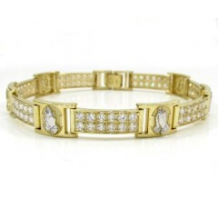 10k Yellow Gold 2x6 Two Tone Cz Praying Hands Bracelet 3.00ct