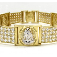 10k Yellow Gold Large 4x6 Two Tone Cz Jesus Face Bracelet 5.00ct