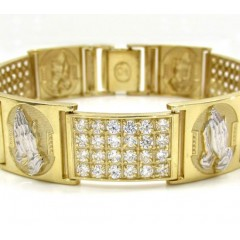 10k Yellow Gold Large 4x6 Two Tone Cz Praying Hands Bracelet 5.00ct