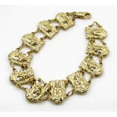 10k Yellow Gold Medium Mutli Jesus Face Bracelet
