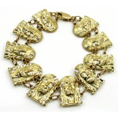 10k Yellow Gold Large Multi Jesus Face Bracelet