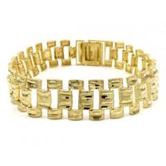 10k Yellow Gold Large Bark Finish Bracelet