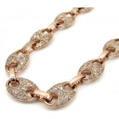 14k Solid Rose Gold Champagne Diamonds Gucci Puff Chain 24