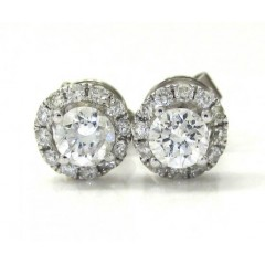 14k White Gold Diamond Cluster Earrings 0.75ct