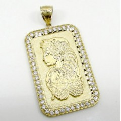 10k Yellow Gold Gold Bar Large Pendant 1.00ct