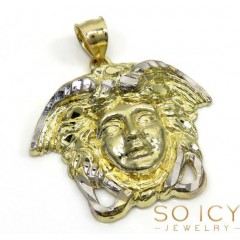 10k Two Tone Gold Small Medusa Head Pendant