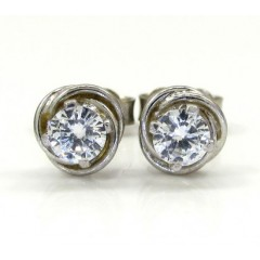 Ladies 18k White Gold Flower Diamond Stud Earrings 0.50ct
