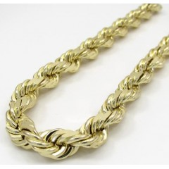 Mens 10k Yellow Gold Solid Diamond Cut Rope Bracelet 9 7mm