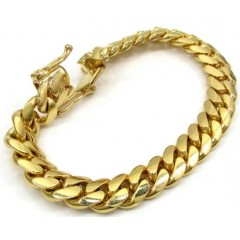 10k Yellow Gold Thick Miami Bracelet 8.50 Inch 11.20mm