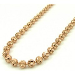 14k Solid Rose Gold Moon Cut Bead Chain 26 Inch 3mm