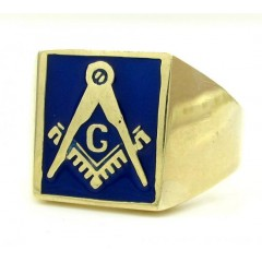 10k Yellow Gold Blue Enamel Free Mason G Ring