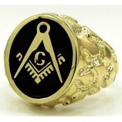 10k Yellow Gold Black Enamel Free Mason G Nugget Ring
