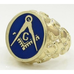 10k Yellow Gold Blue Enamel Free Mason G Nugget Ring