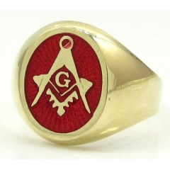 10k Yellow Gold Red Enamel Free Mason G Ring